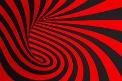 Ejemplo de la trama de la ilusión óptica del toro 3D Imagen negra y roja hipnótica del tubo Ponga en contraste torcer los lazos,  ilustración del vector