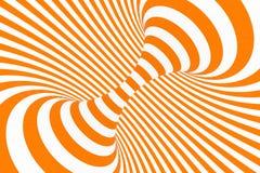 Ejemplo de la trama de la ilusi?n ?ptica del toro 3D Imagen blanca y anaranjada hipn?tica del tubo Ponga en contraste torcer los  stock de ilustración