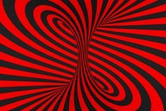 Ejemplo de la trama de la ilusi?n ?ptica del toro 3D Imagen negra y roja hipn?tica del tubo Ponga en contraste torcer los lazos,  ilustración del vector