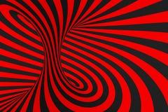 Ejemplo de la trama de la ilusi?n ?ptica del toro 3D Imagen negra y roja hipn?tica del tubo Ponga en contraste torcer los lazos,  libre illustration