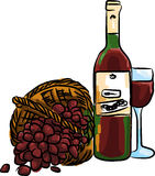 Ejemplo de la uva roja con el vino rojo y el vidrio de la botella por completo Fotografía de archivo libre de regalías