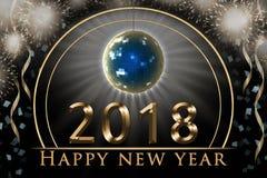 Ejemplo de la víspera del ` s del Año Nuevo 2018, tarjeta con el texto de oro de la Feliz Año Nuevo, fuegos artificiales del part Imagenes de archivo