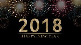 Ejemplo de la víspera del ` s del Año Nuevo 2018, tarjeta con los fuegos artificiales coloridos en backg negro Fotografía de archivo