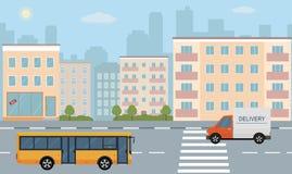 Ejemplo de la vida de ciudad con las fachadas de la casa, el camino y otros detalles urbanos stock de ilustración