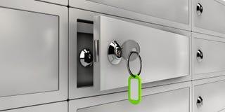 Ejemplo de las cajas de depósito seguro Open, objeto realista Fotos de archivo