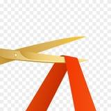 Ejemplo de las celebridades de la gran inauguración con las tijeras del oro y la cinta roja aisladas Vector ilustración del vector