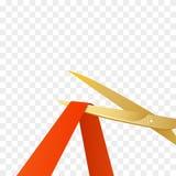 Ejemplo de las celebridades de la gran inauguración con las tijeras del oro y la cinta roja Vector ilustración del vector