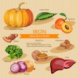Ejemplo de las comidas de las vitaminas y de los minerales Sistema del vector de comidas de los ricos de la vitamina Hierro libre illustration