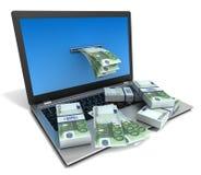 Ejemplo de las cuentas 3d del ordenador portátil y de dinero ilustración del vector
