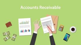 Ejemplo de las cuentas por cobrar con una escritura del hombre en papeleo con el documento del dinero, de la calculadora y de la  Imagen de archivo