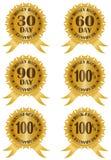 Ejemplo de las escrituras de la etiqueta del reembolso del dinero y de la garantía Foto de archivo libre de regalías