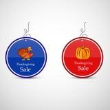 Ejemplo de las etiquetas de la venta para la acción de gracias Foto de archivo libre de regalías