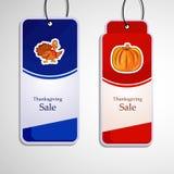 Ejemplo de las etiquetas de la venta para la acción de gracias Fotografía de archivo libre de regalías