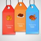 Ejemplo de las etiquetas de la venta para la acción de gracias Imagen de archivo libre de regalías