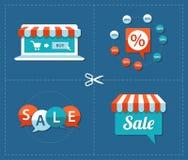 Ejemplo de las etiquetas planas de la venta del diseño fijadas Foto de archivo libre de regalías