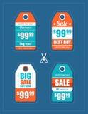 Ejemplo de las etiquetas planas de la venta del diseño fijadas Imagenes de archivo