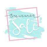 Ejemplo de las letras del vector de la venta del verano para las banderas Fondo de la caligrafía de la venta del verano Imagen de archivo