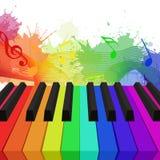 Ejemplo de las llaves coloreadas arco iris del piano Foto de archivo