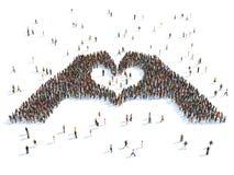 Ejemplo de las manos que representan el corazón imagenes de archivo
