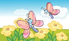 Mariposas de un vuelo stock de ilustración