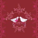 Ejemplo de las palomas y del corazón de la boda Textura inconsútil o tarjeta de la paloma Imagen de archivo