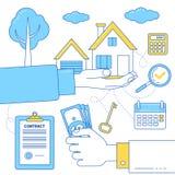 Ejemplo de las propiedades inmobiliarias con la mano que sostiene el dinero y la casa Imagen de archivo