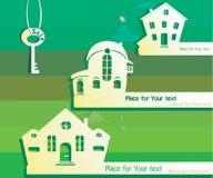 Ejemplo de las propiedades inmobiliarias para la venta Casas de la imagen cortadas del papel Imagen de archivo libre de regalías