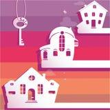 Ejemplo de las propiedades inmobiliarias para la venta Casas de la imagen cortadas del papel Foto de archivo