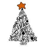 Ejemplo de las vacaciones de invierno del vector Árbol de la silueta de la Navidad con las letras del saludo ilustración del vector