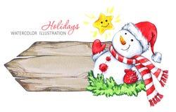 Ejemplo de las vacaciones de invierno Marco de madera de la acuarela con el muñeco de nieve stock de ilustración