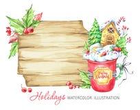 Ejemplo de las vacaciones de invierno Marco de madera de la acuarela, una taza de crema y una casa de pan de jengibre dentro ilustración del vector