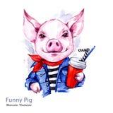 Ejemplo de las vacaciones de verano Cerdo de la historieta de la acuarela en chaqueta de los vaqueros con la bebida Fin de semana libre illustration