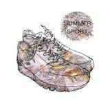 Ejemplo de las zapatillas de deporte hermosas para una imagen o un cartel Zapato del estilo exhausto de la mano con textura de la imagen de archivo libre de regalías