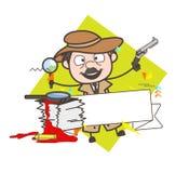 Ejemplo de Laughing Action Vector del detective de la historieta Foto de archivo libre de regalías