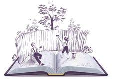 Ejemplo de libro abierto de la cerca de las pinturas de Tom Sawyer Foto de archivo