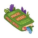 Ejemplo de libro mágico exhausto de las hierbas de la mano Libro de Wiccan de sombras Cuaderno de Hedgewitch ilustración del vector