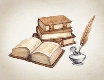 Ejemplo de libros del vintage de la acuarela Imagenes de archivo