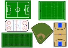 Ejemplo de los campos de deporte Imágenes de archivo libres de regalías