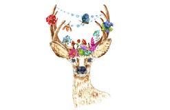 Ejemplo de los ciervos de huevas con las flores Imagen de archivo libre de regalías