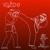 Ejemplo de los combatientes de los artes marciales de Kudo stock de ilustración
