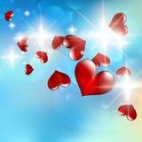 Ejemplo de los corazones brillantes de un flujo Imagen de archivo