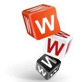 ejemplo de los dados 3d con la palabra WWW Foto de archivo