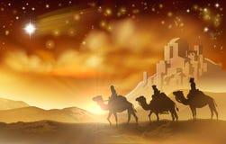 Ejemplo de los hombres sabios de la Navidad tres de la natividad Foto de archivo