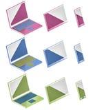 Ejemplo de los iconos 3d del ordenador, del teléfono y de la tableta Foto de archivo libre de regalías