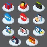 Ejemplo de los iconos de las compras Imágenes de archivo libres de regalías