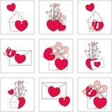 Ejemplo de los iconos del amor El ideal para Valetine carda la decoración 9 iconos Imagen de archivo