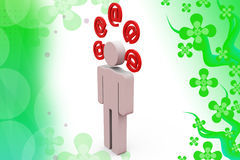 ejemplo de los iconos del correo del hombre 3d Imagen de archivo