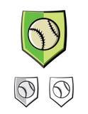 Ejemplo de los iconos del emblema del escudo del béisbol ilustración del vector