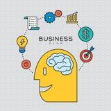 Ejemplo de los iconos del esquema del concepto del plan empresarial Imagen de archivo
