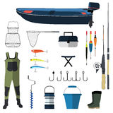 Ejemplo de los iconos del vector de la pesca Ancla de la caña de pescar, de los ganchos, del cebo, del barco y de los pescados Sí Fotos de archivo